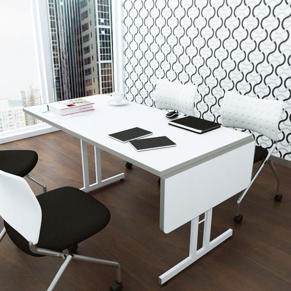 伸縮ミーティングテーブル 1800 1500 1200 会議用 オフィステーブル ホワイト|misae|03