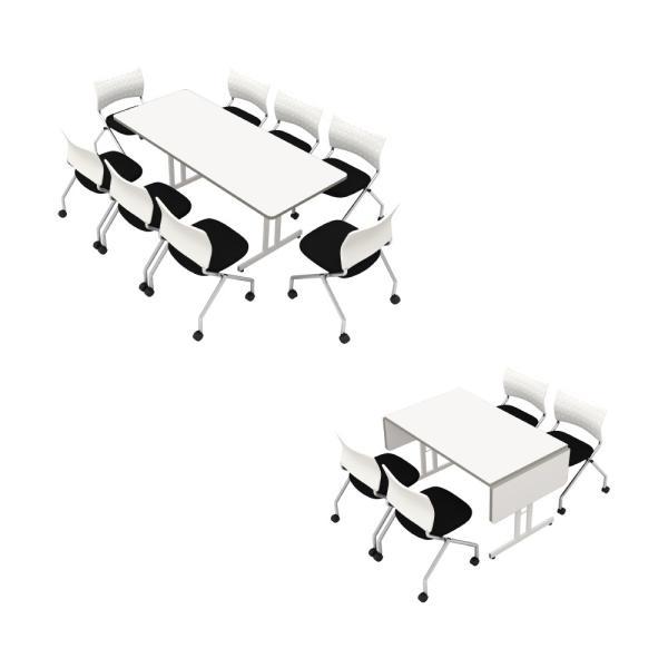 伸縮ミーティングテーブル 1800 1500 1200 会議用 オフィステーブル ホワイト|misae|06