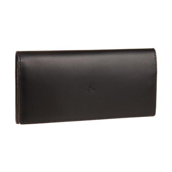 キタムラ 財布長財布ZH0070ブラック/ダークグリーンステッチ 黒 15321