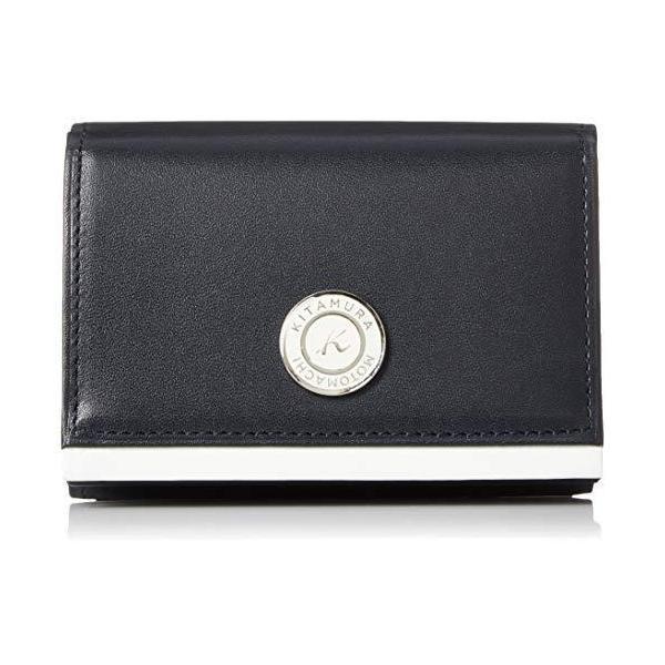 キタムラ 三折財布札入れフラップタイプNH0799ダークブルー/ホワイト 紺 10901