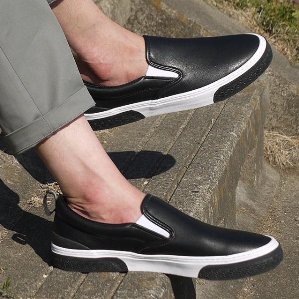 限定カラー スラック フットウェア SLACK FOOTWEAR スニーカー カーマー LX CALMER LX メンズ スリッポン BLACK WHITE BLACK ブラック系 SL1225-099 FW19 mischief 02