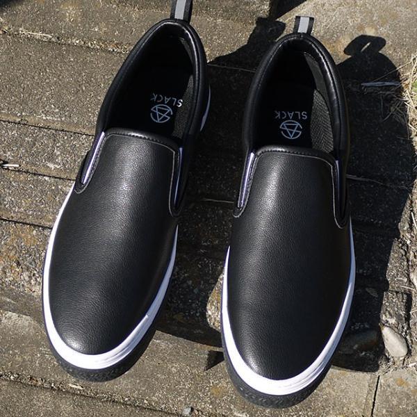 限定カラー スラック フットウェア SLACK FOOTWEAR スニーカー カーマー LX CALMER LX メンズ スリッポン BLACK WHITE BLACK ブラック系 SL1225-099 FW19 mischief 08