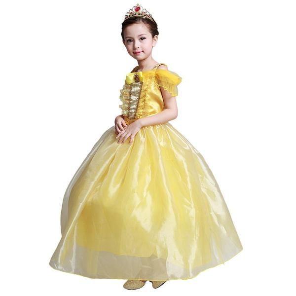 92dc1eb0a8c87 ... こども コスチューム ドレス プリンセス ディズニー 美女と野獣 ベル 風 コスプレ 仮装 ハロウィン 4点セット ...