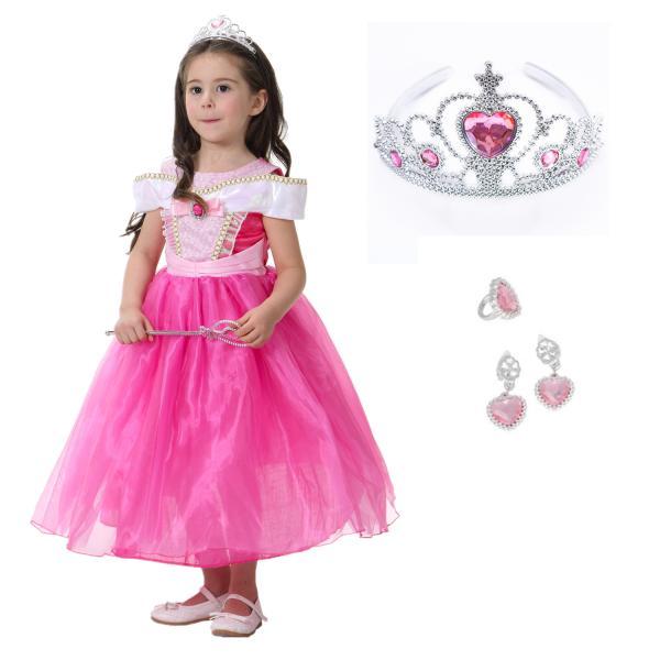 7cef95b67962d こども ディズニープリンセス ドレス オーロラ姫 キッズ コスチュームドレス 眠れる森の美女 ピンクドレス ハロウィン ...