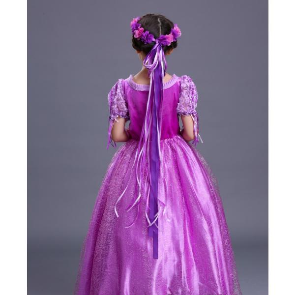 3376052a45767 ... 子供 プリンセスドレス 塔の上のラプンツェル ラプンツェル コスチューム ドレス アームカバー 花カンムリ 3 ...