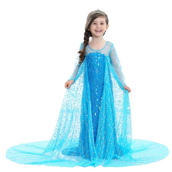 b6556c30aad08 こども用 アナと雪の女王 プリンセス エルサ風 コスチューム ドレス ロングドレス 女の子 ハロウィン ...