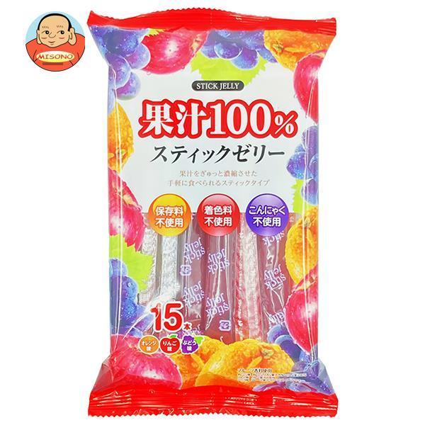 【送料無料・メーカー/問屋直送品・代引不可】リボン 18本果汁100% スティックゼリー 18本×12袋入