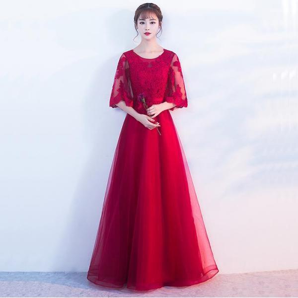 25b827a19ee57 カラードレス パーティードレス aラインドレス 結婚式 二次会 ロングドレス 演奏会 イブニングドレス ...