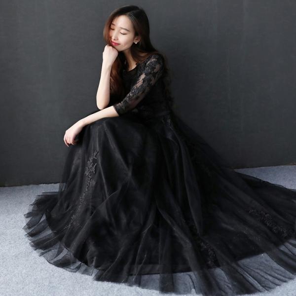 42d13ad06b012 コンサート ドレス ブライダル 二次会 お呼ばれドレス カラードレス 黒 演奏会 長袖 aラインドレス 花嫁
