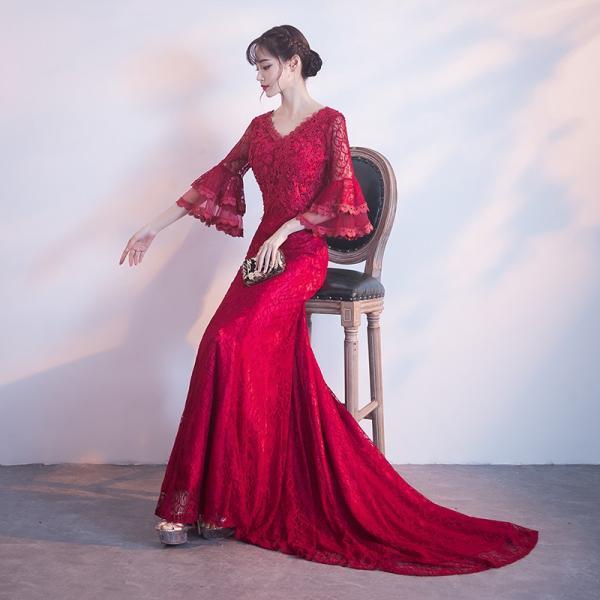 98f84920e5ee7 マーメイドドレス 演奏会 カラードレス 赤 安い ウエディングドレス 結婚式 二次会 ロングドレス 花嫁 ...