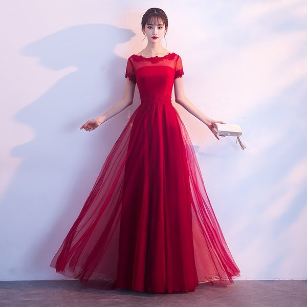 d8653bd856f89 ロングドレス 演奏会 安い カラードレス 赤 花嫁 カクテルドレス 結婚式 イブニングドレス 半袖 ...