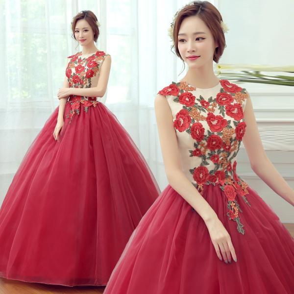 81f3683a15d73 ロングドレス 安い カラードレス 赤 コンサート 演奏会用 パーティードレス ウェディングカラードレス 結婚 ...