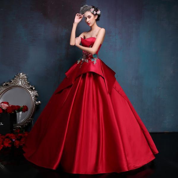 8f948882f207b ウエディングドレス カラードレス 赤 演奏会 コンサート 安い 結婚式 ロングドレス 二次会 プリンセスライン ...