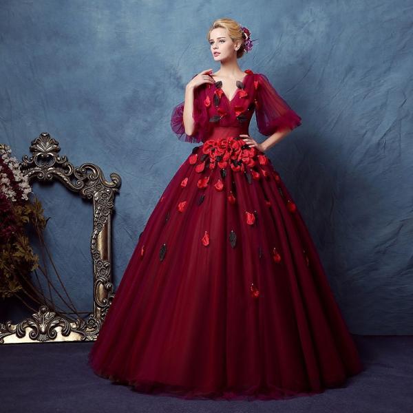 11279d32b8551 ロングドレス 演奏会 カラードレス 赤 安い コンサート 長袖 パーティードレス プリンセス ウェディングカラードレス ...