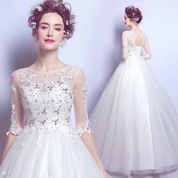 ee218e4dd4d40 ウエディングドレス 袖あり 二次会 ウェディングドレス 安い 秋冬 結婚式 プリンセス エンパイア 花嫁 ドレス 白 ...