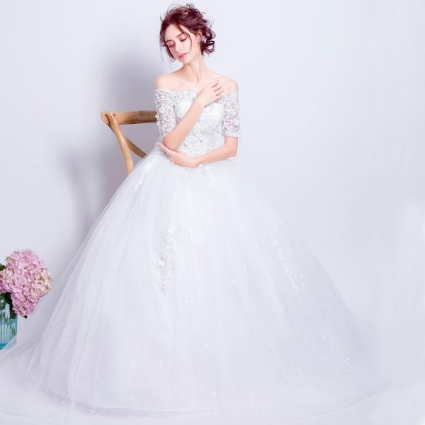 754764894365b ... ウエディングドレス 半袖 結婚式 二次会 ウェディングドレス ボレロ 安い プリンセス エンパイア 花嫁 白 披露宴 ロング ...