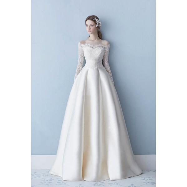 bb589aaff95f7 ... ウエディングドレス 長袖 ワンショルダー 安い 秋冬 結婚式 二次会 プリンセス エンパイア 花嫁 ドレス 披露宴 ロング