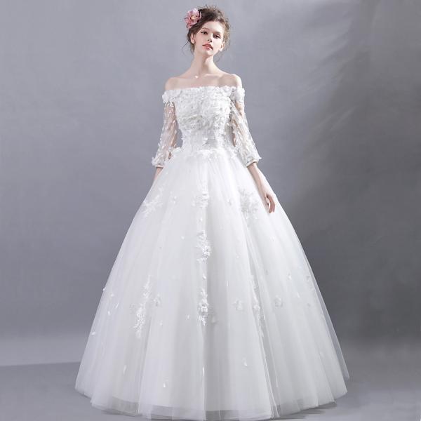 6f30e9b3f152e ... ウエディングドレス 二次会 安い ウェディングドレス エンパイア 長袖 結婚式 プリンセス 花嫁 ロングドレス ブライダル 白 ...