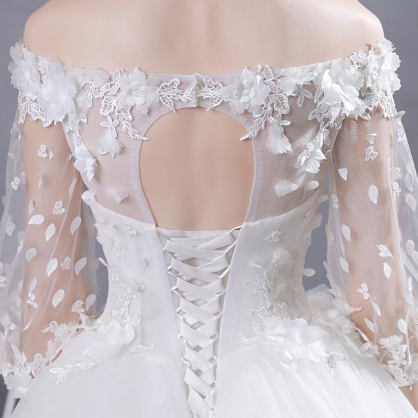 9ca6e797fd0c4 ... ウエディングドレス 二次会 安い ウェディングドレス エンパイア 長袖 結婚式 プリンセス 花嫁 ロングドレス ブライダル 白