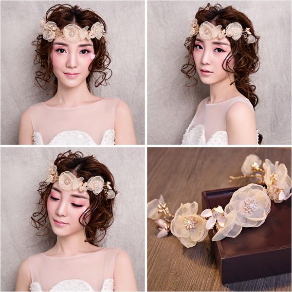 花冠 安い 造花 ヘアアクセサリー 髪飾り カチューシャ 結婚式 フラワーガール 花輪 披露宴 演奏会 二次会 写真撮り