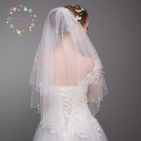 24cbe4b2bc146 ... ウエディングベール 結婚式 ショートベール ロングベール 二次会 ベール コーム付き 安い ブライダル 花嫁 マリア ...