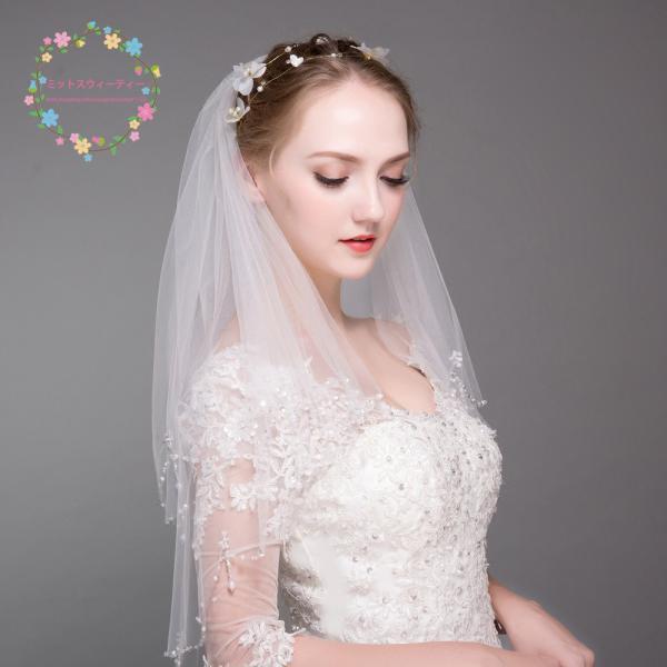 0ccd982b7d3b6 ... ウエディングベール 結婚式 ショートベール ロングベール 二次会 ベール コーム付き 安い ブライダル 花嫁 マリア