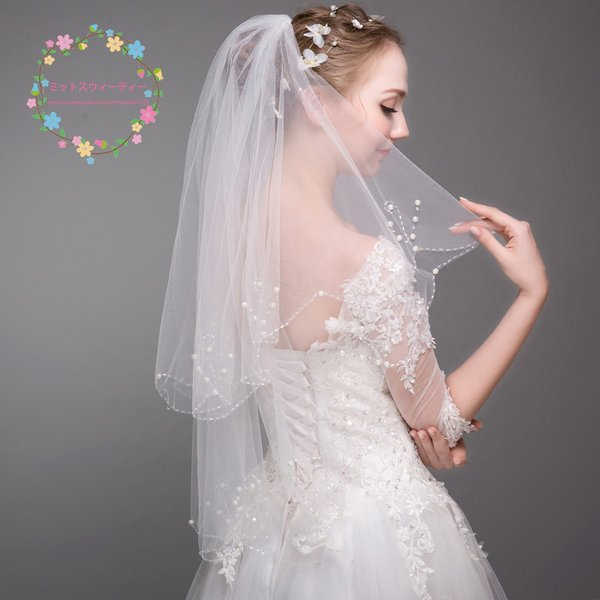 394376ba44f69 ウエディングベール 結婚式 ショートベール 安い ベール コーム付き 二次会 ブライダル 花嫁 マリアベール パール ...