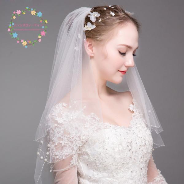 dd443f6d1f477 ... ウエディングベール 結婚式 ショートベール 安い ベール コーム付き 二次会 ブライダル 花嫁 マリアベール パール ...