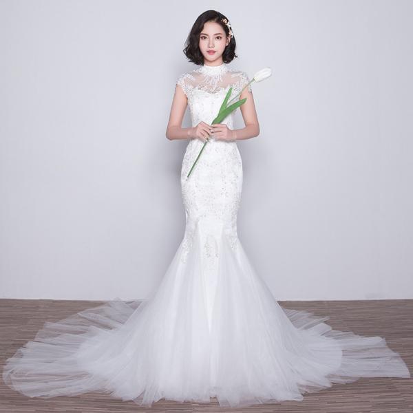 f7c5904cc0a8d マーメイドドレス ウエディングドレス 安い ロングドレス 結婚式 白 花嫁 ブライダル ウェディングドレス マーメイドライン ...