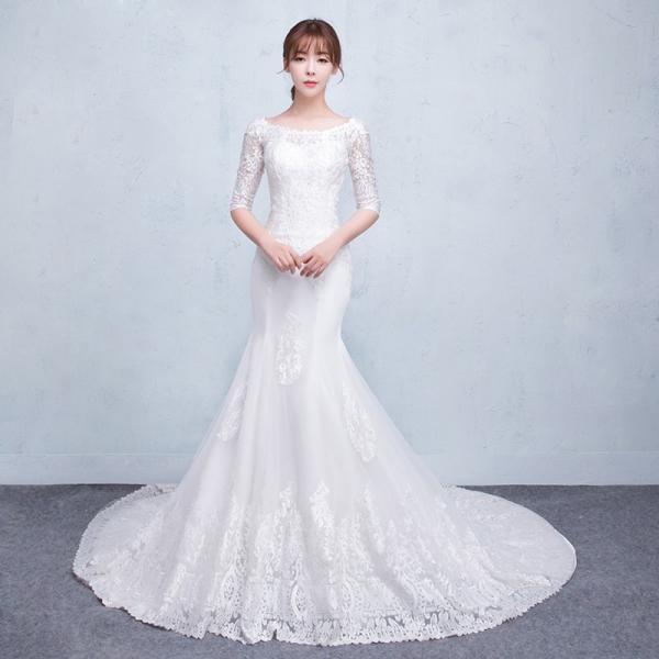 2e671900f20ef ウェディングドレス 安い マーメイドライン 結婚式 ウエディングドレス 花嫁 ロングドレス 長袖 マーメイドドレス 二次会 ...