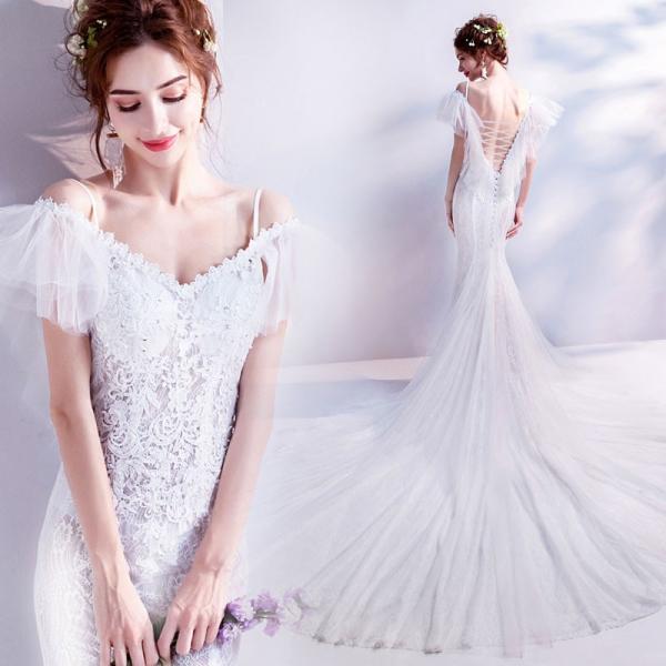 81046dcfb0738 ウェディングドレス 結婚式 マーメイドライン 花嫁 ウエディングドレス 安い 半袖 ロングドレス マーメイドドレス 二次会 ...