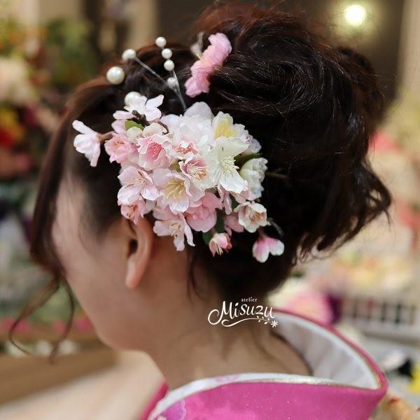 桜のコサージュ ソメイヨシノ 桜 春 髪飾り 入園入学式 卒園卒業式 和婚 cosarge030