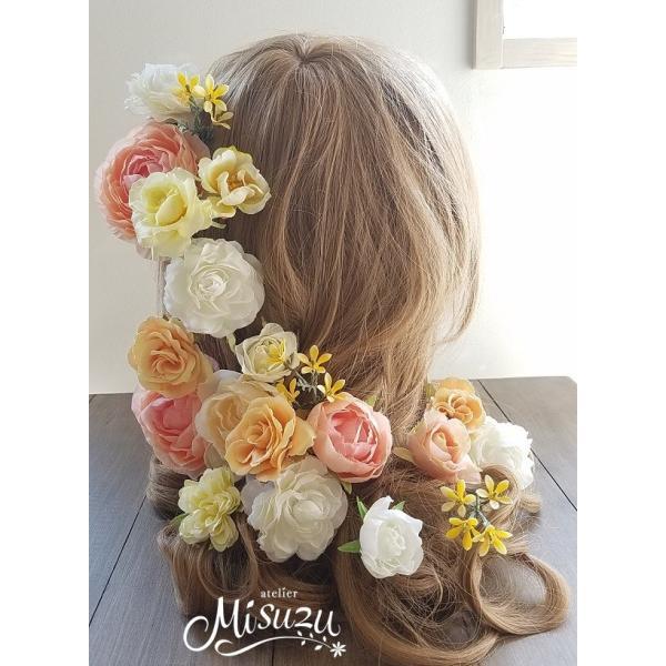 ヘアパーツセット20P ヘッドドレス 海外ウェディング ラプンツェル風 髪飾り2-hair033|misuzu1187