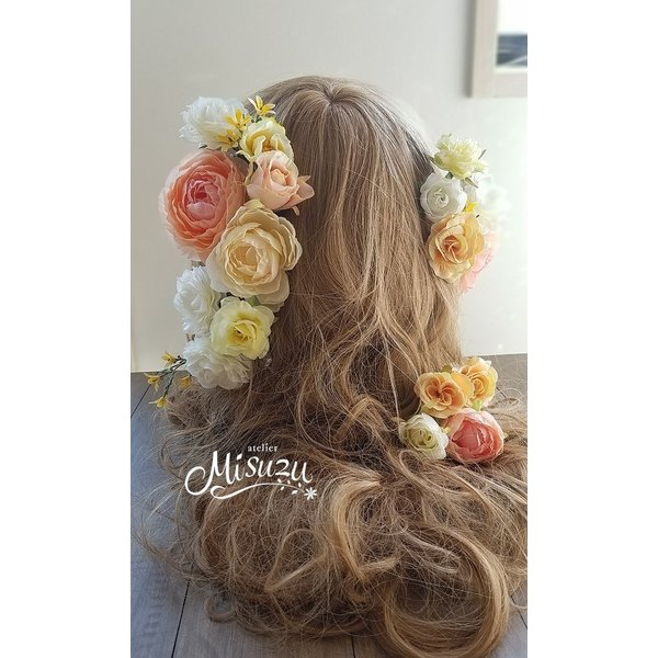 ヘアパーツセット20P ヘッドドレス 海外ウェディング ラプンツェル風 髪飾り2-hair033|misuzu1187|02