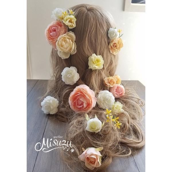 ヘアパーツセット20P ヘッドドレス 海外ウェディング ラプンツェル風 髪飾り2-hair033|misuzu1187|03
