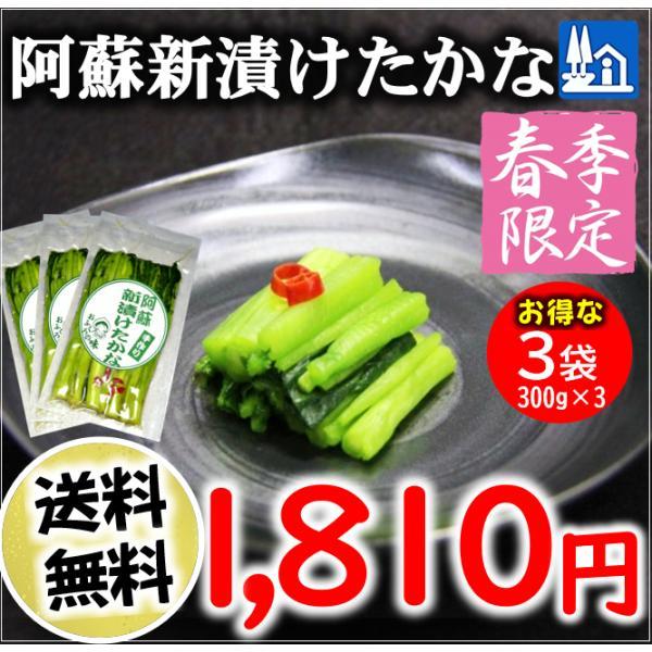 熊本 阿蘇 高菜 漬物 新漬たかな 新漬け 300g×3袋 季節限定 高級 青高菜 人気 絶品 手作り 阿蘇おふくろ工房