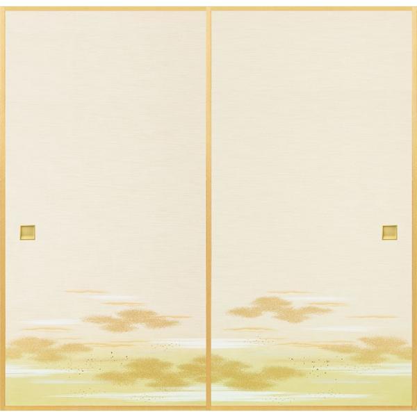 日新821(2枚柄) 織物(糸入り)ふすま紙,襖紙 白・ホワイト系地 緑・グリーン系柄 霞・雲柄 203cm×100cm 2枚1組セット|mitokamiten