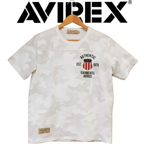半袖tシャツ メンズ ブランド AVIREX アヴィレックス SIGNATURE VARSITY フットボール Tシャツ 刺繍 ワッペン ミリタリー アヴィレックス 迷彩 カモフラージュ|mitoman