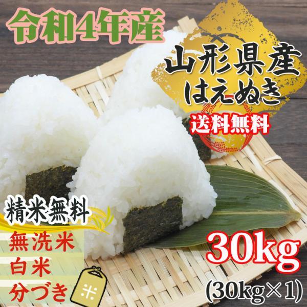 新米予約 令和3年産 米 お米 はえぬき 玄米30kg 山形産 白米・無洗米・分づきにお好み精米 送料無料 当日精米