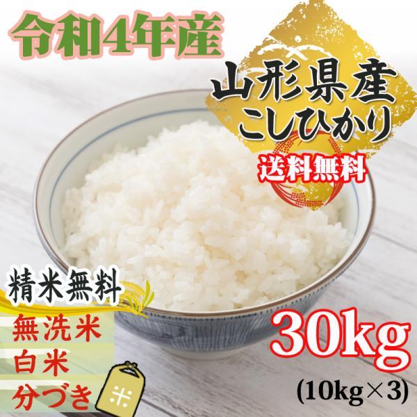 コシヒカリ 米 お米 玄米30kg 10kg×3袋 令和2年産 山形産 白米・無洗米・分づきにお好み精米 送料無料 当日精米
