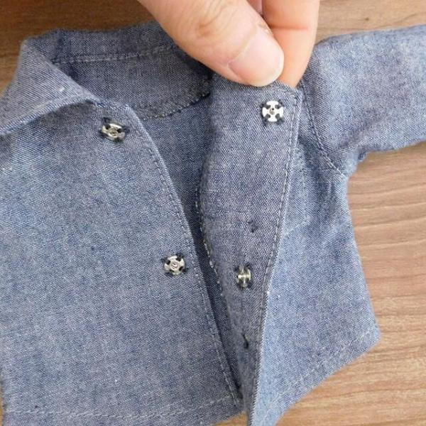 洋服セット ダンガリーシャツとフレアパンツのセット 着せ替え人形 28cmサイズ|mixjam-store|07