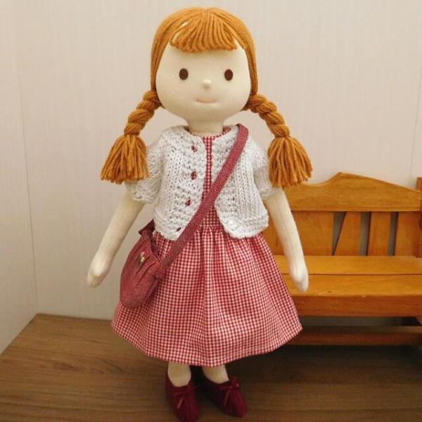 手作り 布製 着せかえ 人形 ギンガムワンピース- 半袖カーディガン 女の子 着せ替え セット 34cmサイズ|mixjam-store|02