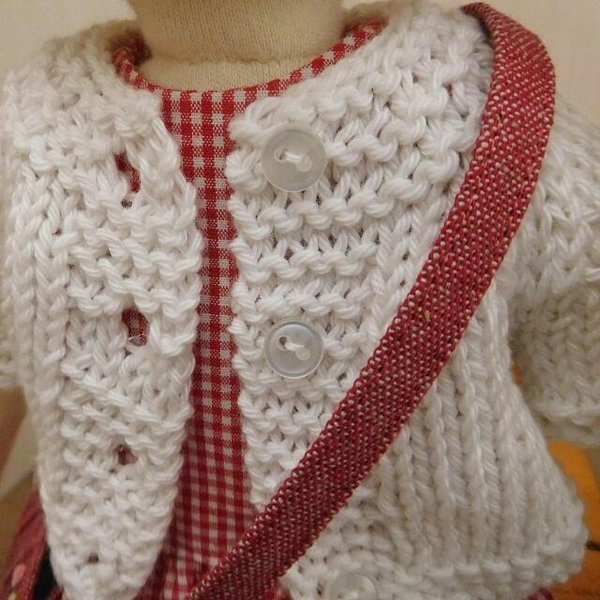 手作り 布製 着せかえ 人形 ギンガムワンピース- 半袖カーディガン 女の子 着せ替え セット 34cmサイズ|mixjam-store|03