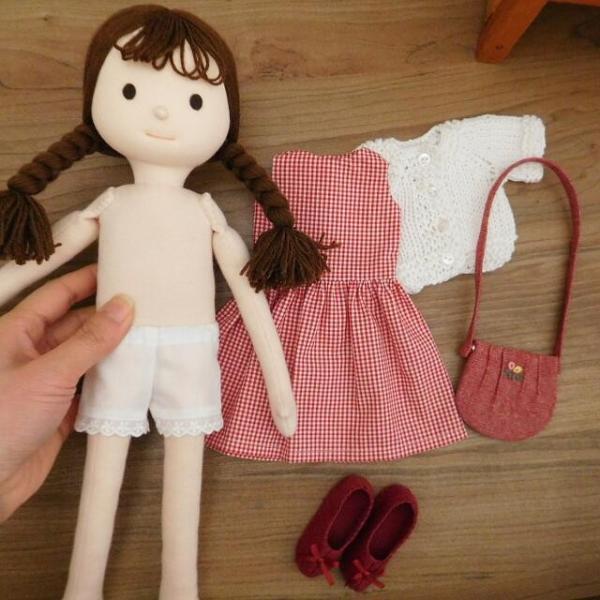 手作り 布製 着せかえ 人形 ギンガムワンピース- 半袖カーディガン 女の子 着せ替え セット 34cmサイズ|mixjam-store|15