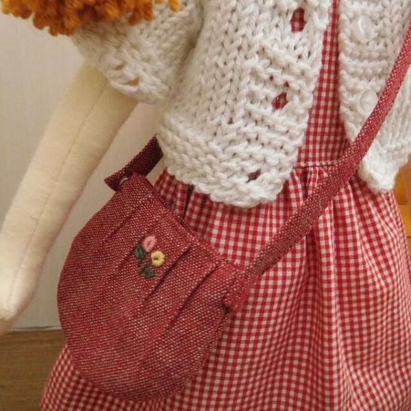 手作り 布製 着せかえ 人形 ギンガムワンピース- 半袖カーディガン 女の子 着せ替え セット 34cmサイズ|mixjam-store|04