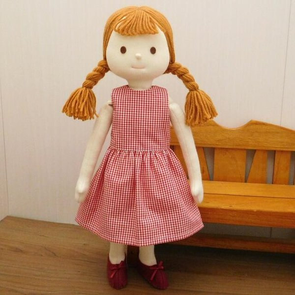 手作り 布製 着せかえ 人形 ギンガムワンピース- 半袖カーディガン 女の子 着せ替え セット 34cmサイズ|mixjam-store|05