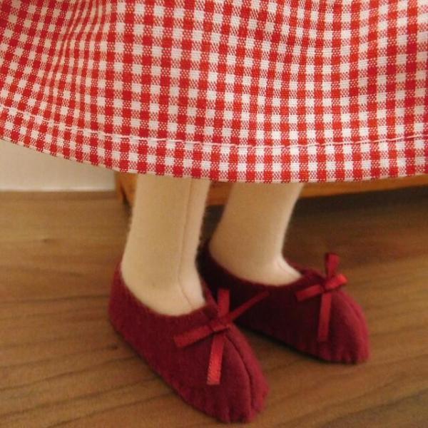 手作り 布製 着せかえ 人形 ギンガムワンピース- 半袖カーディガン 女の子 着せ替え セット 34cmサイズ|mixjam-store|06