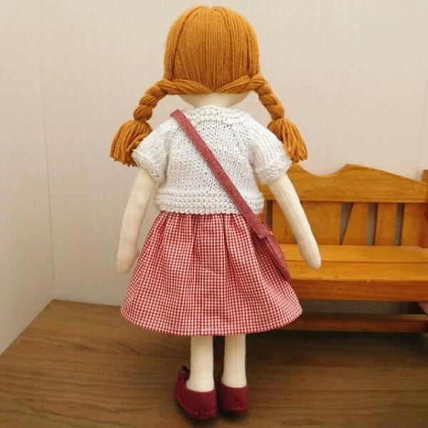 手作り 布製 着せかえ 人形 ギンガムワンピース- 半袖カーディガン 女の子 着せ替え セット 34cmサイズ|mixjam-store|07