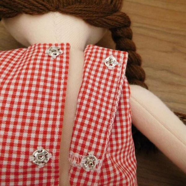 手作り 布製 着せかえ 人形 ギンガムワンピース- 半袖カーディガン 女の子 着せ替え セット 34cmサイズ|mixjam-store|08