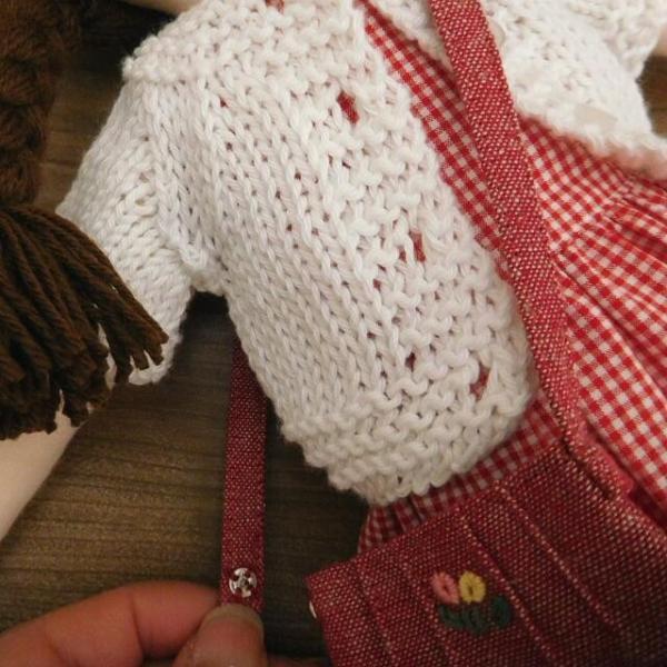 手作り 布製 着せかえ 人形 ギンガムワンピース- 半袖カーディガン 女の子 着せ替え セット 34cmサイズ|mixjam-store|10